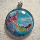 Swimming MERMAID Ocean Coral Reef -Glass Pendant Batik Art Necklace- Aqua Blue Purple