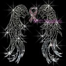 Angel Wings - Pink Breast Cancer Ribbon Rhinestone Iron on Transfer Hot Fix Bling - DIY