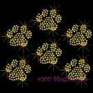 6 Gold Paw Print Rhinestone Iron on Transfer Hot Fix Bling - DIY