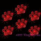 6 Red Paw Print Rhinestone Iron on Transfer Hot Fix Bling - DIY