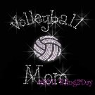 Volleyball Mom - C Rhinestone Iron on Transfer Hot Fix Bling Sports - DIY
