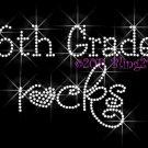 Sixth Grade Rocks Heart 6th Rhinestone Iron on Transfer Hot Fix Bling School - DIY