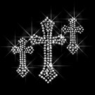 3 Cross Clear Rhinestone Iron on Transfer Hot Fix Bling - DIY