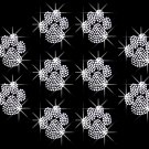 10 Clear Paw Print Rhinestone Iron on Transfer Hot Fix Bling - DIY