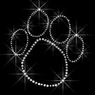 Paw Print Outline Rhinestone Iron on Transfer Hot Fix Bling - DIY