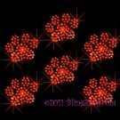 6 Orange Paw Print Rhinestone Iron on Transfer Hot Fix Bling - DIY