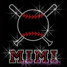 Baseball MIMI Bat Rhinestone Iron on Transfer Hot Fix Bling Sport - DIY