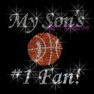 My Son #1 Fan - Basketball Rhinestone Iron on Transfer Hot Fix Bling Mom