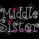 Middle Sister Rhinestone Iron on Transfer Hot Fix Bling Mom Kids - DIY