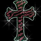Leopard Pink Cross Rhinestone Iron on Transfer Hot Fix Bling - DIY