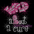 Wild about a cure - Letter B Ribbon Rhinestone Iron on Transfer Hot Fix Bling Breast Cancer - DIY