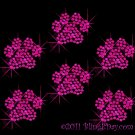 6 Fuchsia (Hot Pink) Paw Print Rhinestone Iron on Transfer Hot Fix Bling - DIY