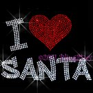 I Love Santa Rhinestone Iron on Transfer Hot Fix Bling Christmas Claus Heart - DIY