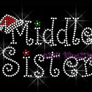 Christmas Middle Sister Rhinestone Iron on Transfer Hot Fix Bling Mom Santa Hat - DIY