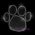 (L) Black Paw Print Rhinestone Iron On Transfer Hot Fix Bling School Mascot - DIY