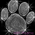 (L) Silver Paw Print Rhinestone Iron On Transfer Hot Fix Bling School Mascot - DIY