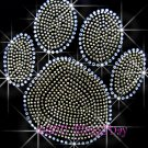 (L) Gold Paw Print Rhinestone Iron On Transfer Hot Fix Bling School Mascot - DIY