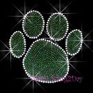 (L) Green Paw Print Rhinestone Iron On Transfer Hot Fix Bling School Mascot - DIY