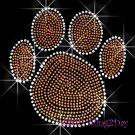 (L) Orange Paw Print Rhinestone Iron On Transfer Hot Fix Bling School Mascot - DIY