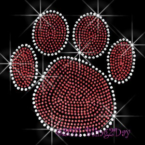 (L) Red Paw Print Rhinestone Iron On Transfer Hot Fix Bling School Mascot - DIY