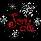 Joy Snowflake Rhinestone Iron on Transfer Hot Fix Bling Christmas Winter - DIY