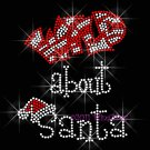 RED Wild about Santa Rhinestone Iron on Transfer Hot Fix Bling Christmas Claus Hat - DIY