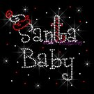 Santa Baby Rhinestone Iron on Transfer Hot Fix Bling Christmas Santa Hat Candy Cane - DIY