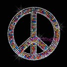 Peace Sign - Multi Color Stud Rhinestone Iron on Transfer Hot Fix Bling Love - DIY