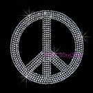Peace Sign - Silver Stud Rhinestone Iron on Transfer Hot Fix Bling Love - DIY