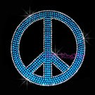 Peace Sign - Turquoise Stud Rhinestone Iron on Transfer Hot Fix Bling Love - DIY
