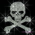 Skull Cross & Bones Rhinestone Iron on Transfer Hot Fix Bling Sport - DIY