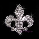 Silver Fleur De Lis Rhinestone Iron on Transfers Hot Fix Bling - DIY