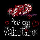 Wild for my Valentine - RED Hearts Rhinestone Iron on Transfer Hot Fix Bling Love - DIY