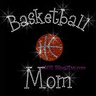 Basketball Mom - C Rhinestone Iron on Transfer Hot Fix Bling Sports - DIY