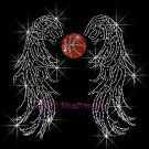 Angel Wings - Basketball Rhinestone Iron on Transfer Hot Fix Bling Sports - DIY