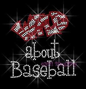Wild about Baseball - RED Rhinestone Iron on Transfer Hot Fix Bling School Sport Mom - DIY
