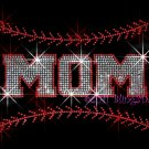 MOM - Baseball Stitching Rhinestone Iron on Transfer Hot Fix Bling Sports Stitch - DIY