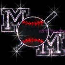 mOm Baseball Bat Rhinestone Iron on Transfer Hot Fix Bling Sports - DIY