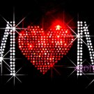 MoM - Red Heart Love Rhinestone Iron on Transfer Hot Fix Bling Sports - DIY
