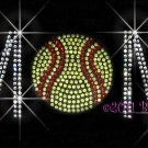 MoM - Softball Rhinestone Iron on Transfer Hot Fix Bling Sports - DIY