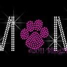 MoM - Fuchsia (Hot Pink) Paw Print Rhinestone Iron on Transfer Hot Fix Bling School Mascot - DIY