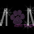 MoM - Purple Stud Paw Print Rhinestone Iron on Transfer Hot Fix Bling School Mascot - DIY