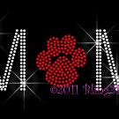 MoM - Red Paw Print Rhinestone Iron on Transfer Hot Fix Bling School Mascot - DIY