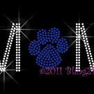 MoM - Royal Blue Paw Print Rhinestone Iron on Transfer Hot Fix Bling School Mascot - DIY