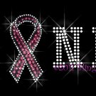 PINK Letters with Breast Cancer Ribbon Pink Rhinestone Iron on Transfer Hot Fix Bling - DIY