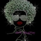 Afro Lady Girl - Silver Woman Rhinestone Iron on Transfer Hot Fix - DIY