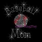 Baseball Mom - C Rhinestone Iron on Transfer Hot Fix Bling Sports - DIY