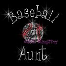 Baseball Aunt - C Rhinestone Iron on Transfer Hot Fix Bling Sports - DIY