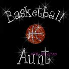 Basketball Aunt - C Rhinestone Iron on Transfer Hot Fix Bling Sports - DIY