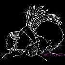 3 Ladies - Clear - Iron on Rhinestone Transfer Hot Fix Bling Afro Woman Lady - DIY